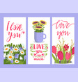 love you sign floral card vector image vector image