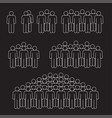 man crowd thin line on black background vector image