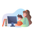 mother teaching her young son online vector image