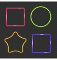 Neon Frame Rectangular Star and Round Buttons on vector image