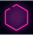 neon sign in octagon shape bright neon light vector image vector image