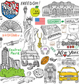New York city doodles elements Hand drawn set with