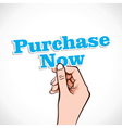 Purchase Now word in hand vector image vector image