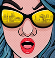 Retro 70s fashion women with sunglasses vector image vector image
