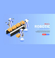 robotic process isometric poster vector image vector image
