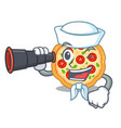 sailor with binocular margherita pizza isolated vector image vector image
