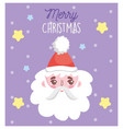 santa claus face stars snow merry christmas card vector image vector image