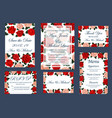 save date wedding cards and menu vector image vector image