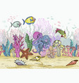 seamless pattern with hand drawn sea coral reef vector image vector image