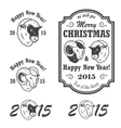 set new year and christmas emblems vector image