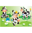 Set of cows cartoons on green meadow vector image
