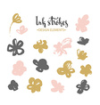 Set of stylish grunge pink and gold flowers vector image vector image