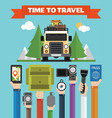 time to travel modern flat background with jeep vector image