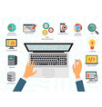 Top view of the programmer hands on laptop Coding vector image vector image