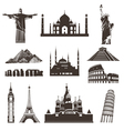 Travel icon set silhouettes vector image vector image