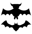 two bats silhouettes vector image