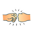 two human hands giving fist bump gesture in sketch vector image vector image