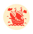 vintage sailboat floating on waves on round vector image vector image