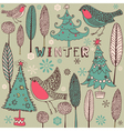 Vintage Winter Birds Pattern vector image