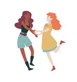 young women having fun together holding hands vector image
