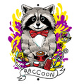 raccoon drinks tea vector image