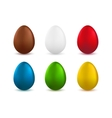 Set of realistic easter eggs isolated on white vector image