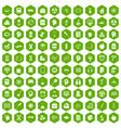 100 education icons hexagon green vector image vector image