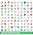 100 seo and web icons set isometric 3d style vector image