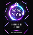 2020 new year eve party celebration poster design vector image