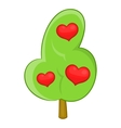Abstract heart tree icon cartoon style vector image vector image