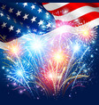 American flag with colored fireworks vector image