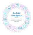artificial intelligence thin line banner card vector image