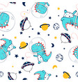 astronaut dinosaur seamless print design vector image vector image