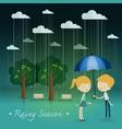 boy gift umbrella girl rainy season in park vector image
