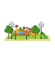 boy listening to music on the player in park vector image