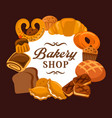 bread and bakery shop baked sweets and buns vector image vector image