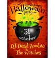 Bright orange Halloween party poster template with vector image vector image