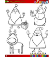 cartoon christmas themes coloring page vector image