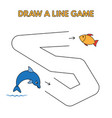 cartoon dolphin draw a line game for kids vector image vector image