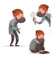 cartoon homeless bum poor male depressed character vector image