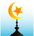 Crescent Moon and Star With Sky vector image vector image