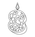 cute number eight candle with stars pattern vector image vector image
