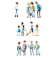 different scenes with funny characters vector image vector image