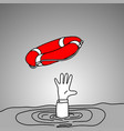 Drowning businessman getting red lifebuoy from