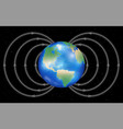 earth planet with magnetic field vector image vector image