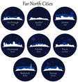 far north cities collection blue circular icons vector image