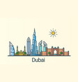 flat line dubai banner vector image vector image