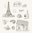 freehand drawing paris items vector image vector image
