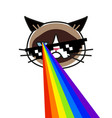 grumpy cat in pixel glasses with rainbow lasers vector image vector image