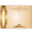 Horizontal royal certificate with a laurel wreath vector image vector image